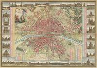 Vintage Map of Paris France (1784)