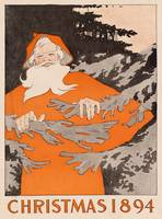 Vintage Santa Claus in a Forest Illustration (1894