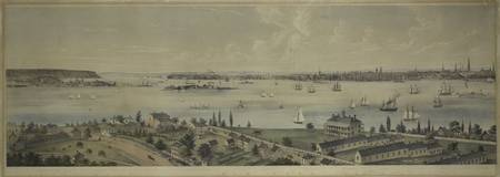 Vintage Panoramic Map of NYC, Jersey City & Staten