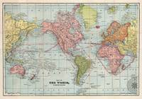 Vintage Map of The World (1889)