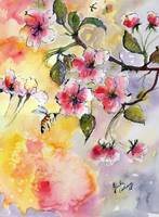 Apple Blossoms and Bee Watercolor