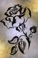 Ink Drawing Chinese Rose Golden