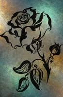 Ink Drawing Chinese Rose Blue