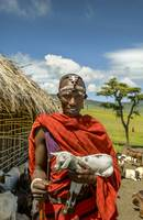 Maasai Tribesman with Goat 4279