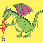 Birthday Dragon Cartoon  Prints & Posters