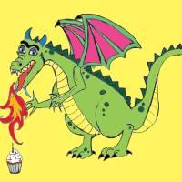 Birthday Dragon Cartoon Art Prints & Posters by Anu Kate Pradhan