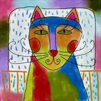 Colorful Abstract Cat Painting