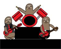 Sloth Music Band Bass Guitar Drums