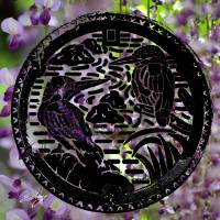 """Manhole Covers of Japan: Kingfisher Water Wisteria"" by evelyncurryart"