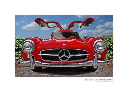 Red Mercedes Benz Gullwing Poster
