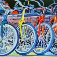The Bicycle Shop yellow bike Art Prints & Posters by RD Riccoboni