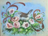 Bird Painting With Roses and Scrolls: Bewick's Wre