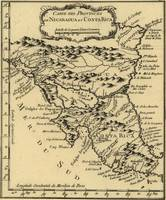 Vintage Map of Nicaragua and Costa Rica (1764)