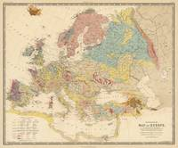 Vintage Geological Map of Europe (1856)