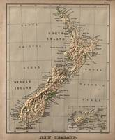 Vintage New Zealand Physical Map (1880)