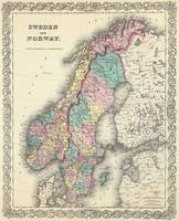 Vintage Map of Norway and Sweden (1856)