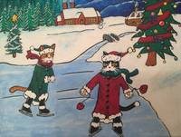 Christmas Ice Skating Cats