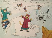 Christmas Snowball Fight Cats