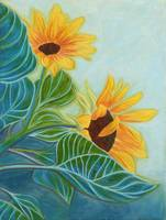 Acrylic Painting of Sunflowers