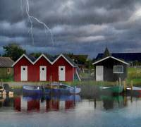 Rainy Stormy Day in Rural Fishing Village