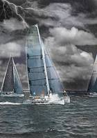 Blue Toned Sailboats in a Rain Squall