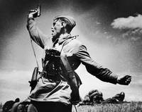 A battalion commander . Soviet officer leading his