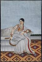 'A portrait of a dancing girl in a white sari with