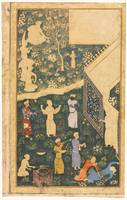 Folio from an Album with Musicians and Servants Ou