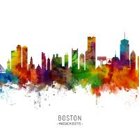 """Boston Massachusetts Skyline"" by ModernArtPrints"