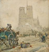 A Street Scene in Front of Notre Dame by Raffielli