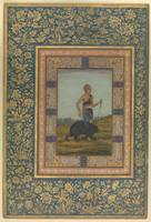 Dervish Leading a Bear  Folio from the Shah Jahan