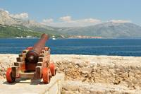 Old cannon at old fortress in medieval Korcula
