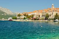 Old town with port of Korcula, Croatia