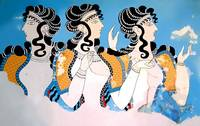 Minoan Ladies in Blue Fresco