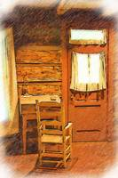 Log Cabin Desk, Chair and Door