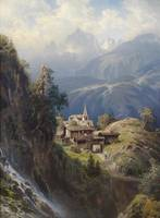 Dorf in den Berner Alpen, by Adolf Mosengel