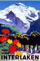 Interlaken, Switzerland Vintage Travel Poster