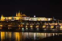 The Prague castle and Charles Bridge in the night