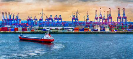 Port of Hamburg on the Elbe River