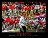 Ohio State Buckeyes OSU Urban Meyer 2500 Art 11x14