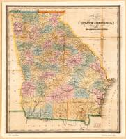 Bonner's pocket map of the state of Georgia (1848)