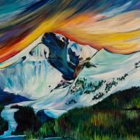"""""""Lone Peak Glow"""" by allisonmcgreefineart"""