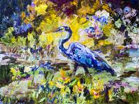 Blue Heron Wetland Magic Impressionist Oil
