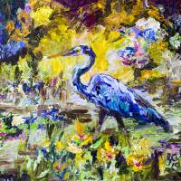 Blue Heron Wetland Magic Impressionist Oil Art Prints & Posters by Ginette Callaway