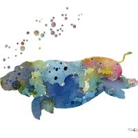Hippo swimming blue Art Prints & Posters by David Rogers