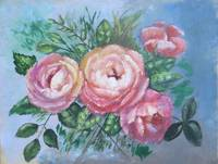 Floral Roses Painting; Flowers