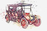 1911 Delahaye Type 43 413a 8 watercolor by Ahmet A