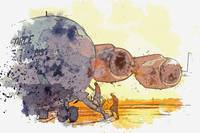 a C-17 Globemaster III watercolor by Ahmet Asar