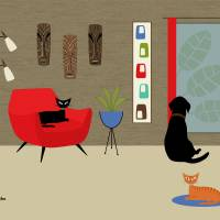 Mid Century Room with Labrador in Red Art Prints & Posters by Donna Mibus