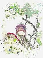 Blue Mosque, Yerevan, Armenia  c2019, watercolor b